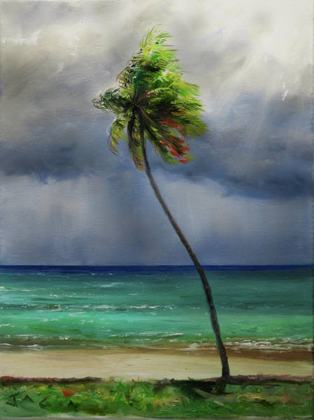 Saint Lucia Painting - Bending Coconut Palm by Jonathan Guy-Gladding JAG