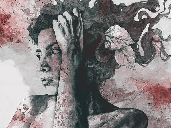 Sexy Lady Drawing - Beneath Broken Earth - Red Wine - Street Art Drawing, Woman With Leaves And Tattoos by Marco Paludet