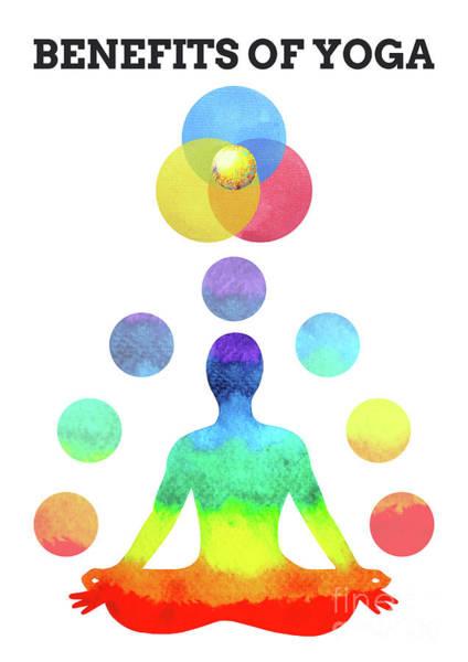 Spiritual Practice Mixed Media - Benefits Of Yoga Infographic 7 Colors Chakra Lotus Pose Watercol by Benjavisa Ruangvaree