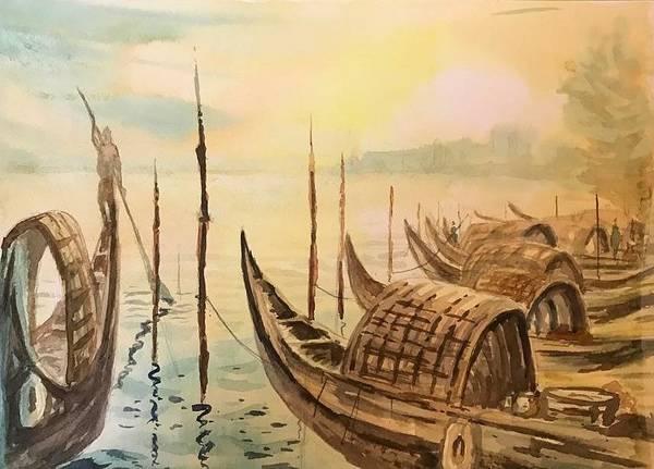 Kannan Painting - Bengal Boats At Sunset Point by Kannan Ananthasubramani
