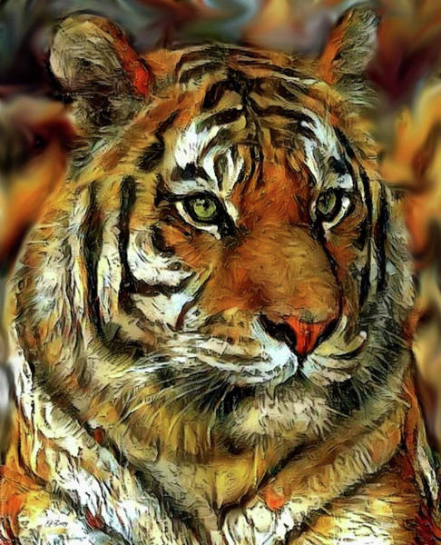 Mammal Mixed Media - Bengal Tiger 009 by G Berry