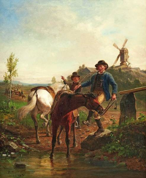 Wall Art - Painting - Bengt Nordenberg  1822 1902   Rider In Landscape 2 by Celestial Images