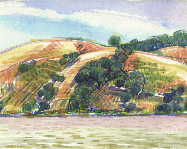 Painting - Benicia Across The Strait From 9th Street Park by Judith Kunzle