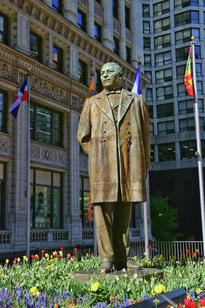 Photograph - Benito Juarez Statue - Chicago by Allen Beatty