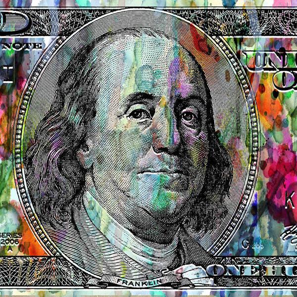 Wall Art - Painting - Benjamin Franklin 100 Bucks Watercolor  by Robert R Splashy Art Abstract Paintings