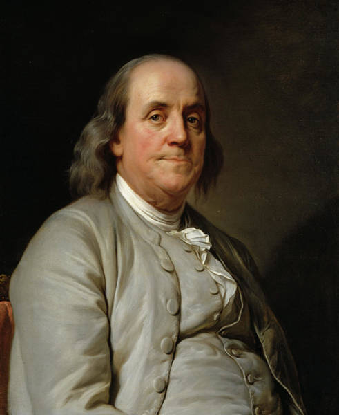 Vice Painting - Benjamin Franklin, 1785 by Joseph Siffred Duplessis