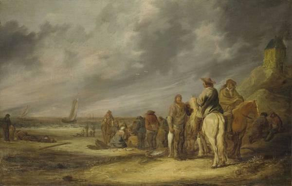 Wall Art - Painting - Benjamin Gerritsz. Cuyp  Dordrecht 1612-1652 Fisherfolk And Horsemen On A Beach by Celestial Images