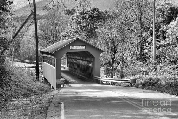 Photograph - Bennington Chiselville Covered Bridge Black And White by Adam Jewell