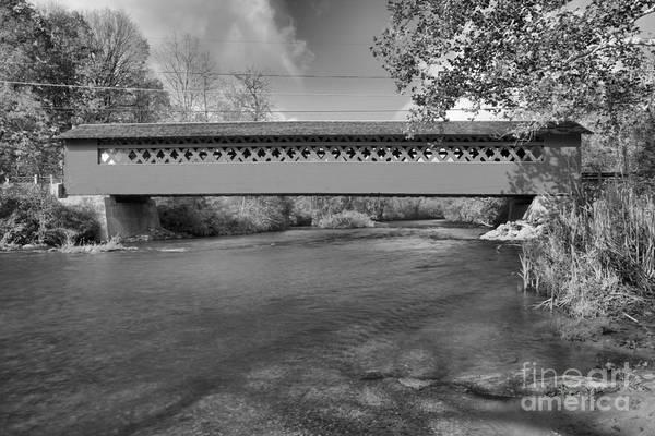 Photograph - Bennington Falls Covered Bridge Black And White by Adam Jewell