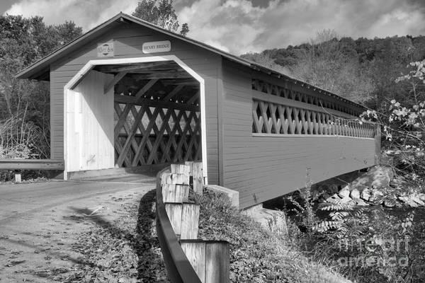 Photograph - Bennington Henry Covered Bridge Black And White by Adam Jewell