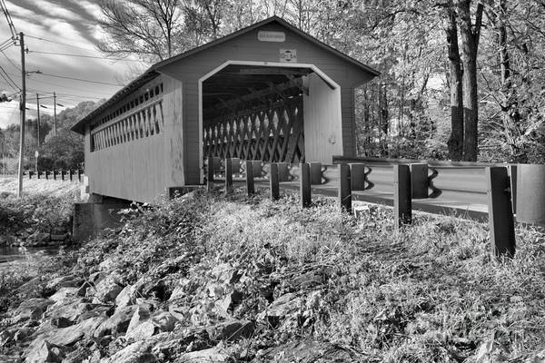 Photograph - Bennington Vermont Silk Covered Bridge Black And White by Adam Jewell