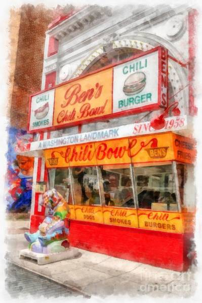 Wall Art - Digital Art - Ben's Chili Bowl Watercolor by Edward Fielding