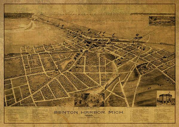Wall Art - Mixed Media - Benton Harbor Michigan Vintage City Street Map 1889 by Design Turnpike