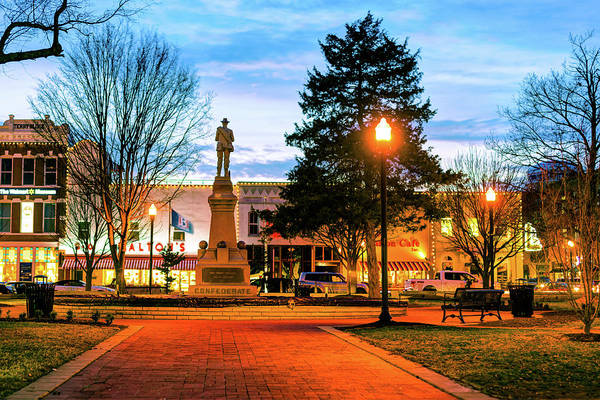 Photograph - Bentonville Town Square Fountain In Winter by Gregory Ballos