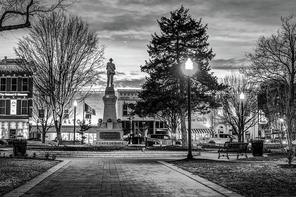 Photograph - Bentonville Town Square Fountain In Winter - Monochrome by Gregory Ballos