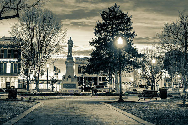 Photograph - Bentonville Town Square Fountain In Winter - Sepia by Gregory Ballos