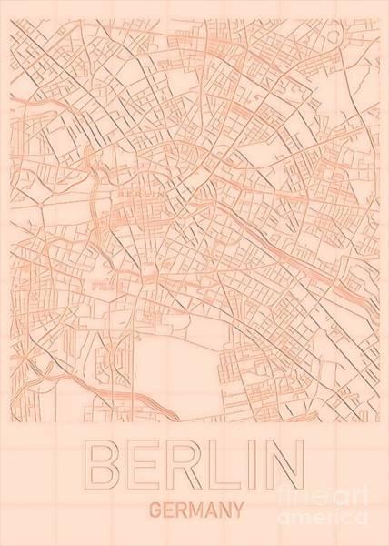 Digital Art - Berlin Blueprint City Map by Helge