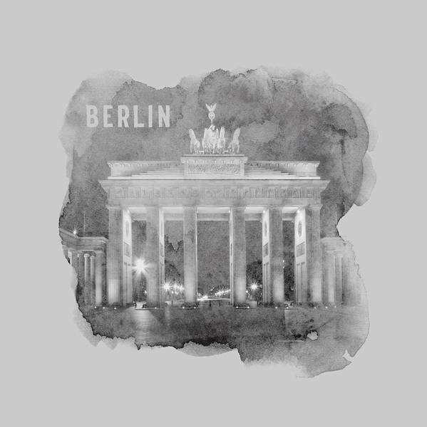 Wall Art - Mixed Media - Berlin Brandenburg Gate - Monochrome Watercolor by Melanie Viola
