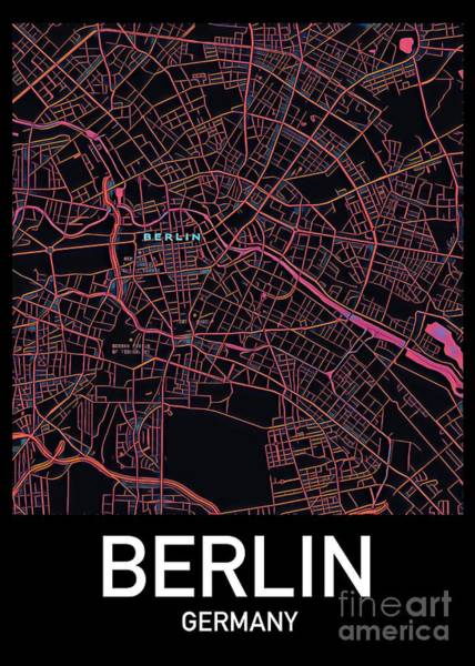 Digital Art - Berlin City Map by Helge