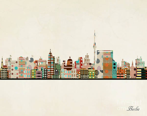 Wall Art - Painting - Berlin City Skyline by Bri Buckley