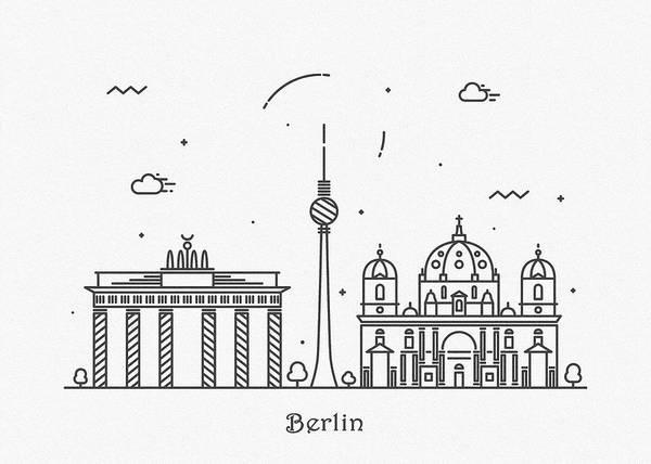 Landmark Center Drawing - Berlin Cityscape Travel Poster by Inspirowl Design