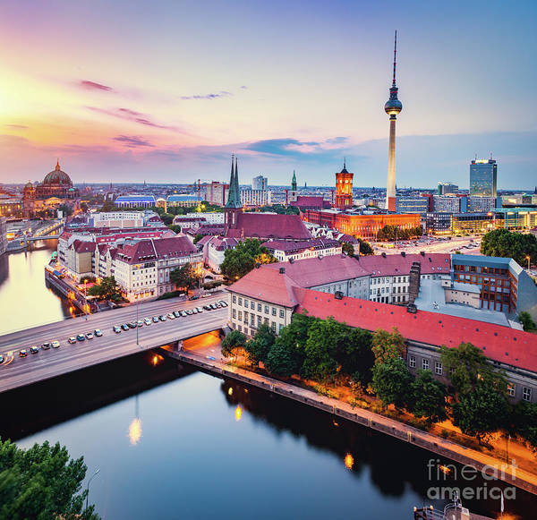 Photograph - Berlin, Germany At Sunset. by Michal Bednarek