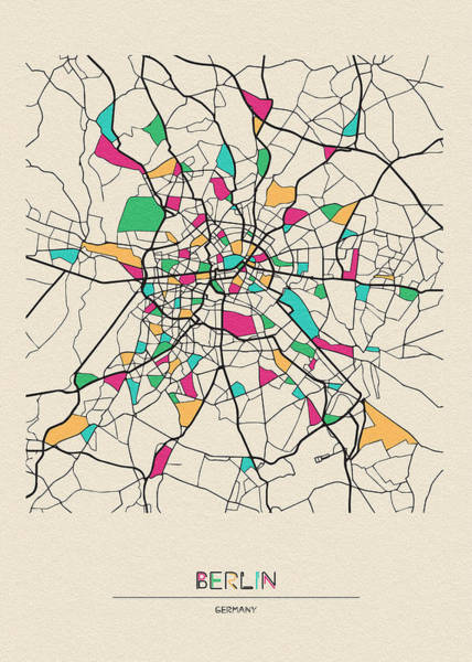 Drawing - Berlin, Germany City Map by Inspirowl Design