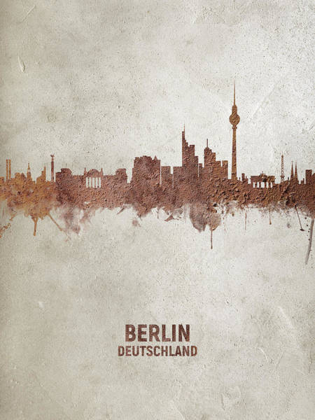Wall Art - Digital Art - Berlin Germany Rust Skyline by Michael Tompsett