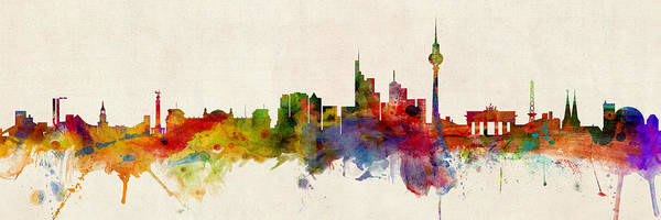 Wall Art - Digital Art - Berlin Germany Skyline Panoramic by Michael Tompsett