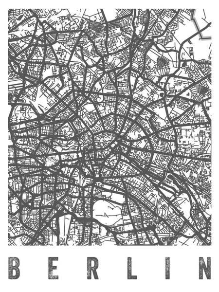 Wall Art - Digital Art - Berlin Germany Street Map - White by Aged Pixel