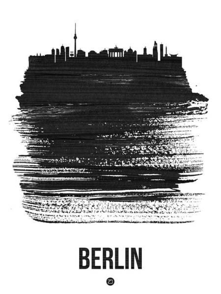 Wall Art - Mixed Media - Berlin Skyline Brush Stroke Black by Naxart Studio