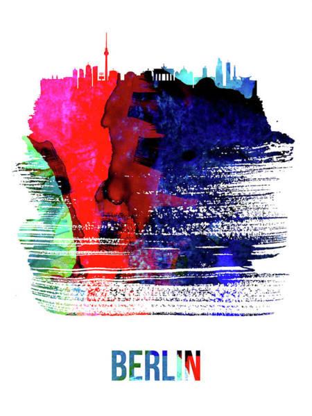 Wall Art - Mixed Media - Berlin Skyline Brush Stroke Watercolor   by Naxart Studio
