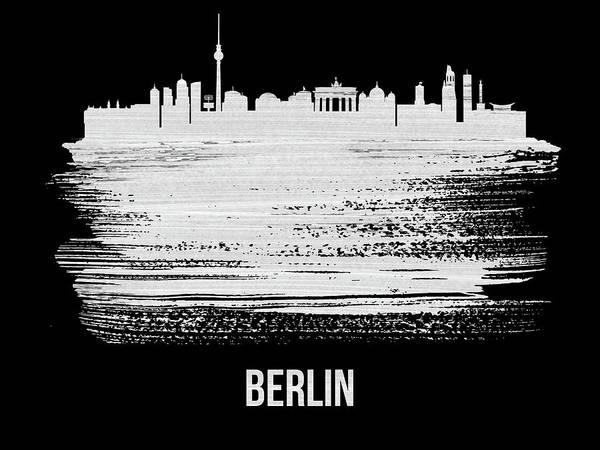Wall Art - Mixed Media - Berlin  Skyline Brush Stroke White by Naxart Studio