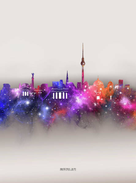 Wall Art - Digital Art - Berlin Skyline Galaxy by Bekim M