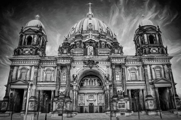 Berlin Cathedral Photograph - Berliner Dom Berlin Germany Black And White by Carol Japp