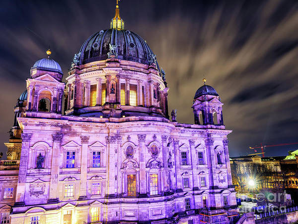 Photograph - Berliner Dom Lights At Night by John Rizzuto
