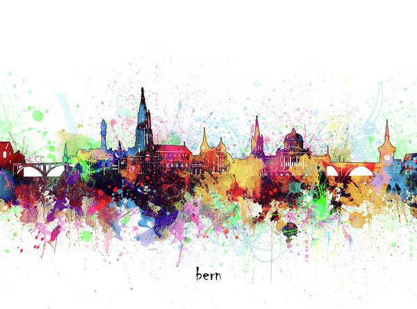 Wall Art - Digital Art - Bern Skyline Artistic by Bekim M