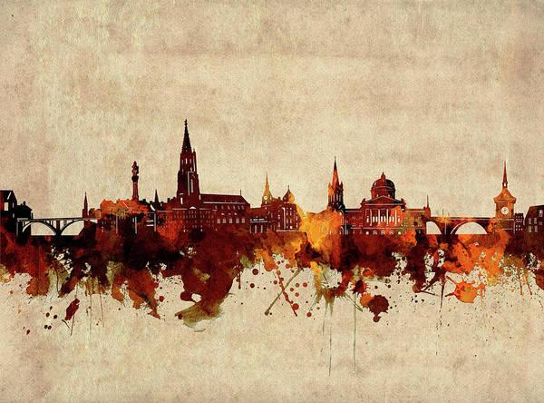 Wall Art - Digital Art - Bern Skyline Sepia by Bekim M