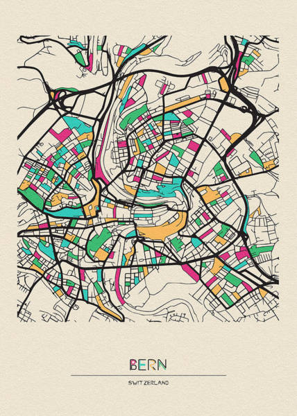 Drawing - Bern, Switzerland City Map by Inspirowl Design