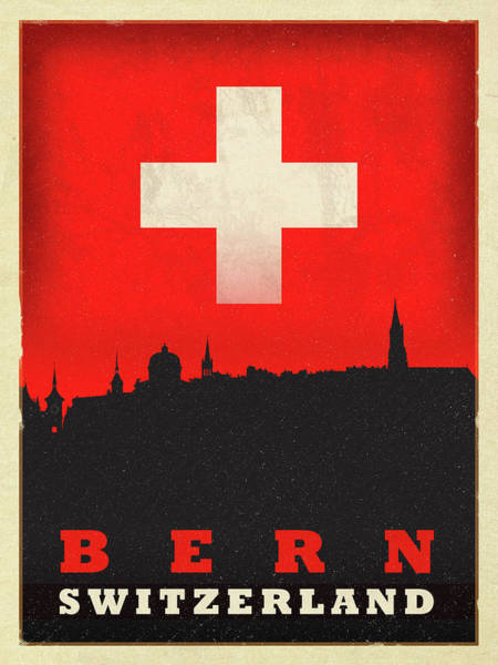 Wall Art - Mixed Media - Bern Switzerland World City Flag Skyline by Design Turnpike