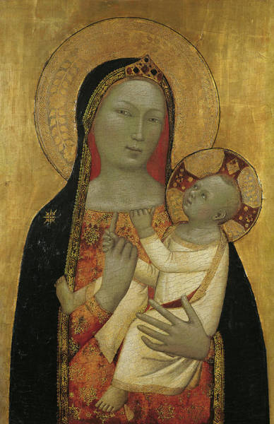 0 Painting - Bernardo Daddi -florence, Active Ca .1312- 1348-. The Virgin And Child -ca. 1340 - 1345-. Tempera... by Bernardo Daddi -c 1280-1348-