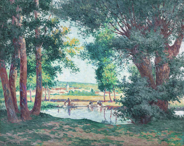 Wall Art - Photograph - Bessy-sur-cure, The Washerwomen At The Water's Edge by Maximilien Luce