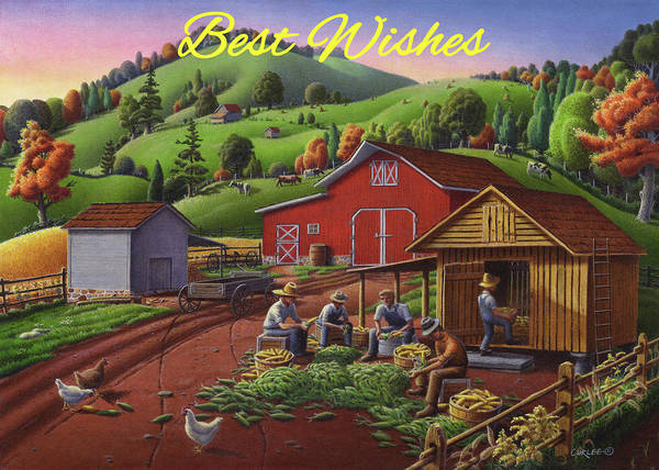 Wall Art - Painting - Best Wishes Greeting Card - Farmers Shucking Corn Fall Farm Landscape by Walt Curlee