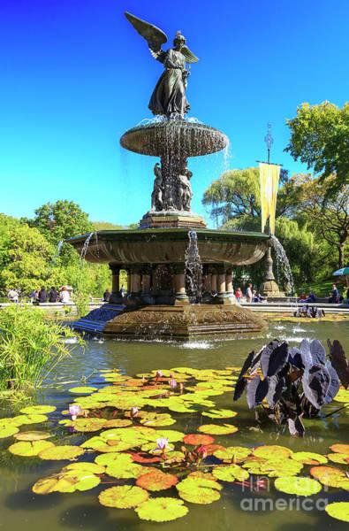 Uptown Manhattan Photograph - Bethesda Fountain Central Park New York City by John Rizzuto