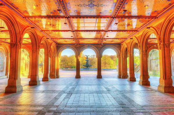 Patio Photograph - Bethesda Terrace And Fountain In by Mitchell Funk