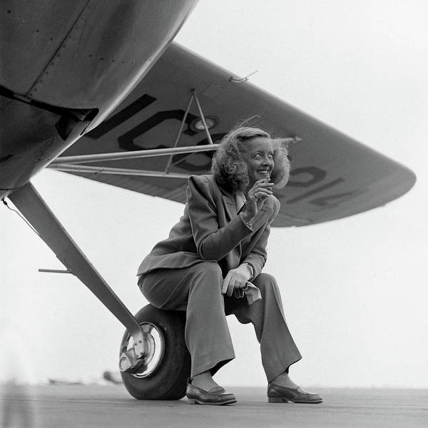 Actress Photograph - Bette Davis With Airplane, 1947 by Loomis Dean
