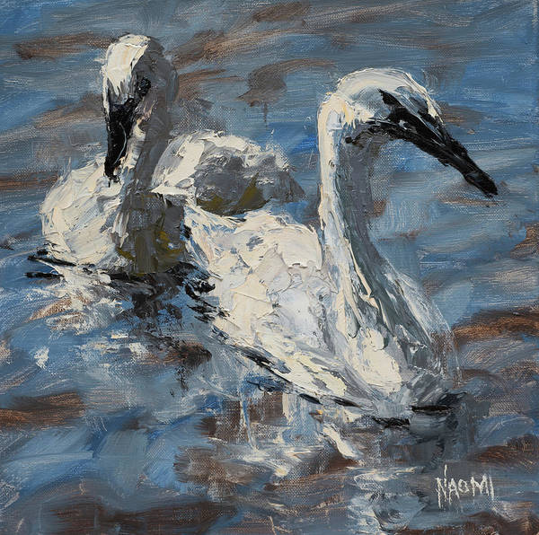 Trumpeter Swan Painting - Better Together by Naomi Tiry Salgado