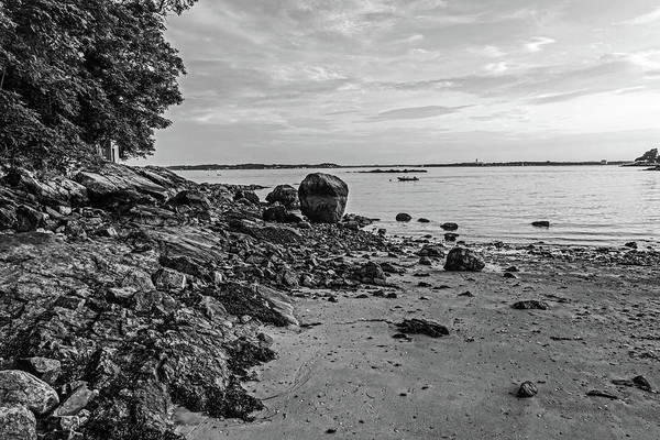 Photograph - Beverly Ma Rocky Coast Black And White by Toby McGuire