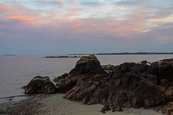 Photograph - Beverly Ma Rocky Coast Red Sky Sunset by Toby McGuire