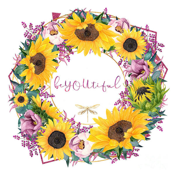 Wall Art - Painting - beYOUtiful floral wreath typography art by Tina Lavoie